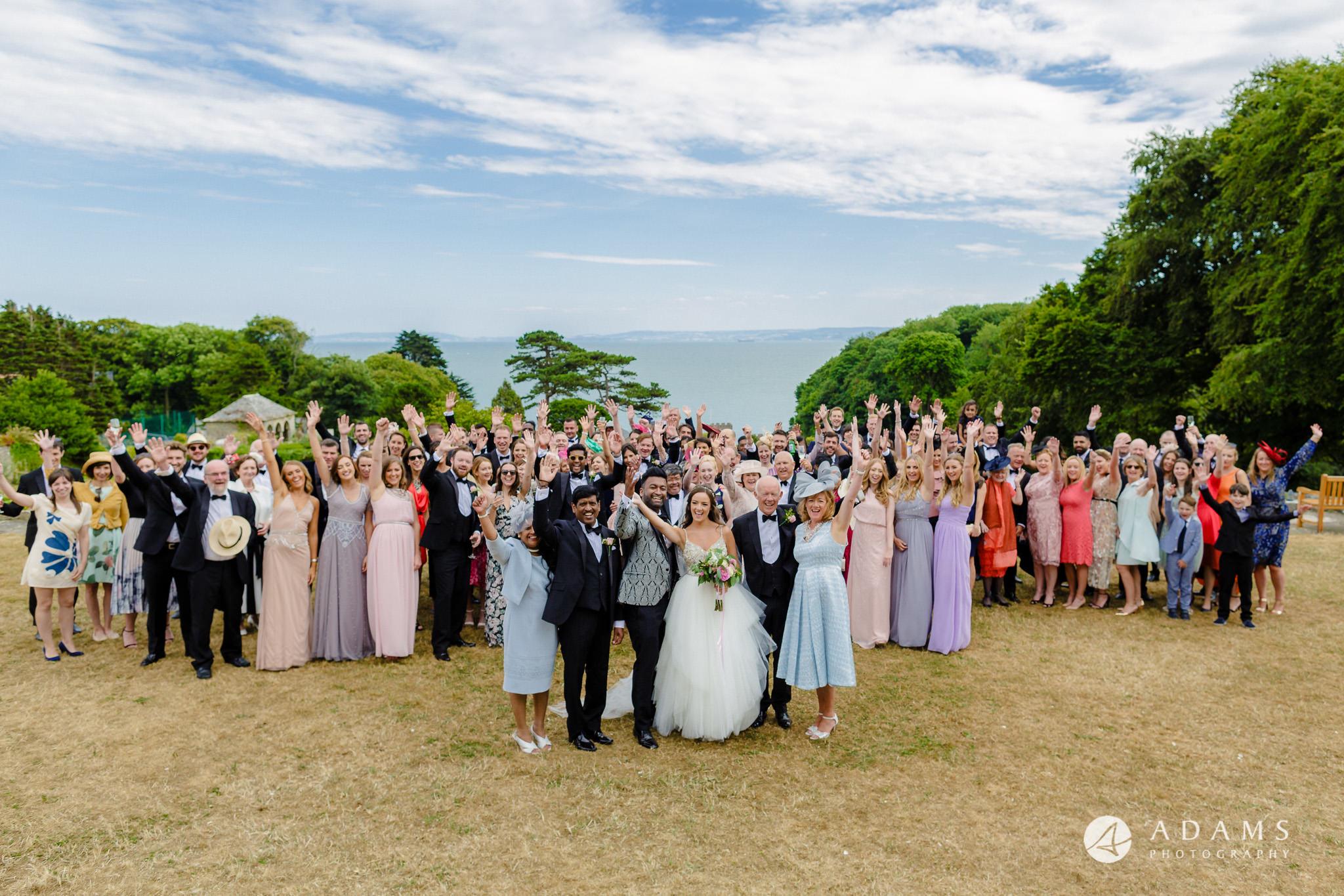 st donats castle wedding big group photo