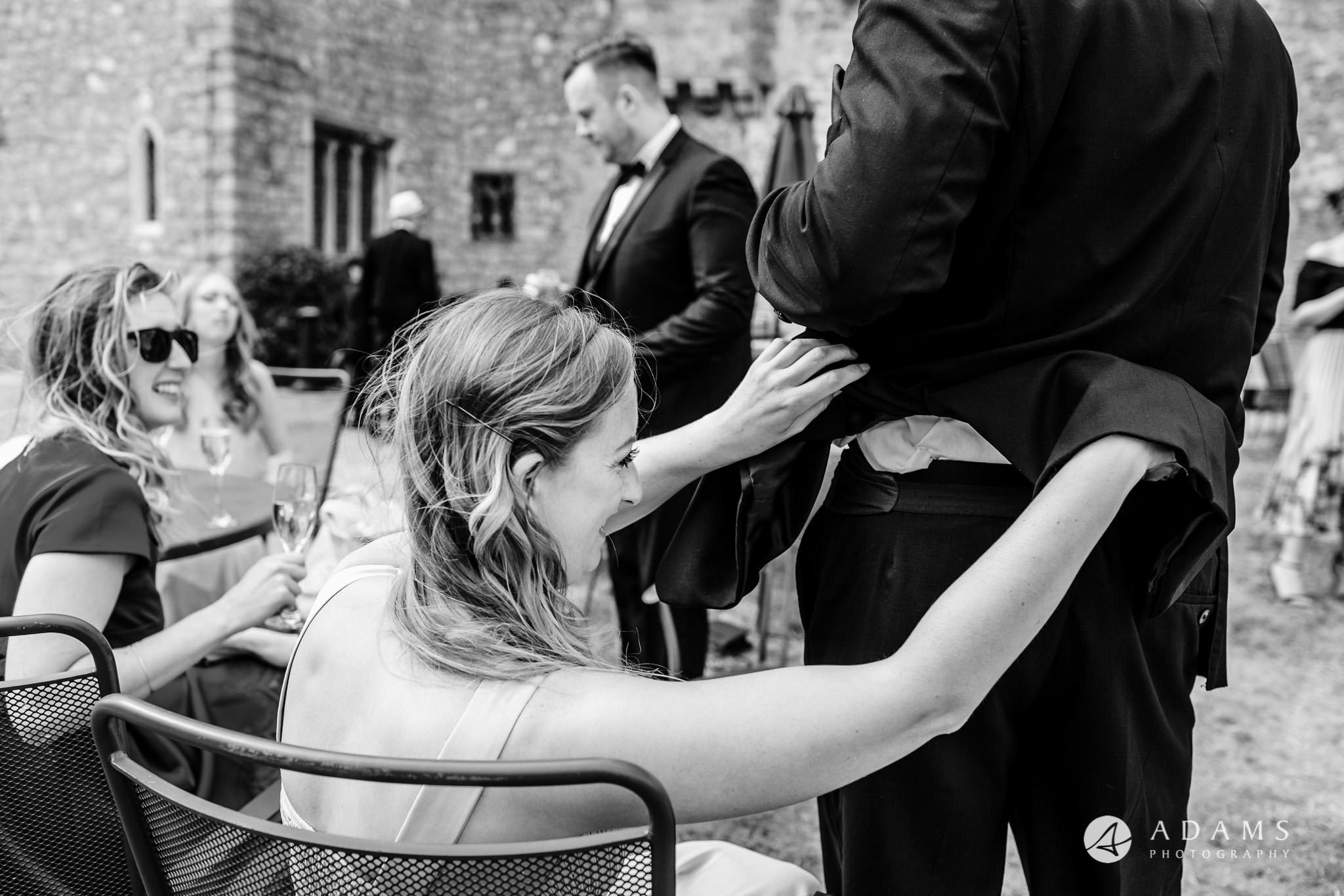 st donats castle wedding guests are checking each other