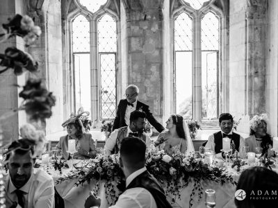 st donats castle wedding father is giving the bride hug