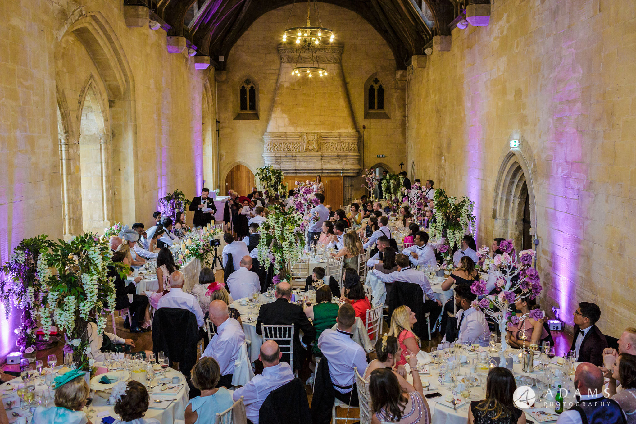 st donats castle wedding view of the dining room with guests