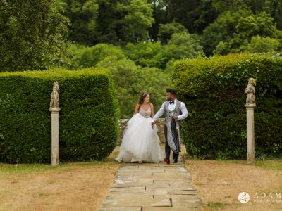 st donats castle wedding married couple walking to the couple shoot