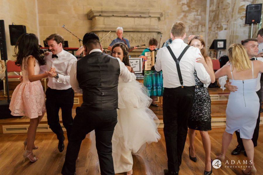 st donats castle wedding couple is dancing with guests