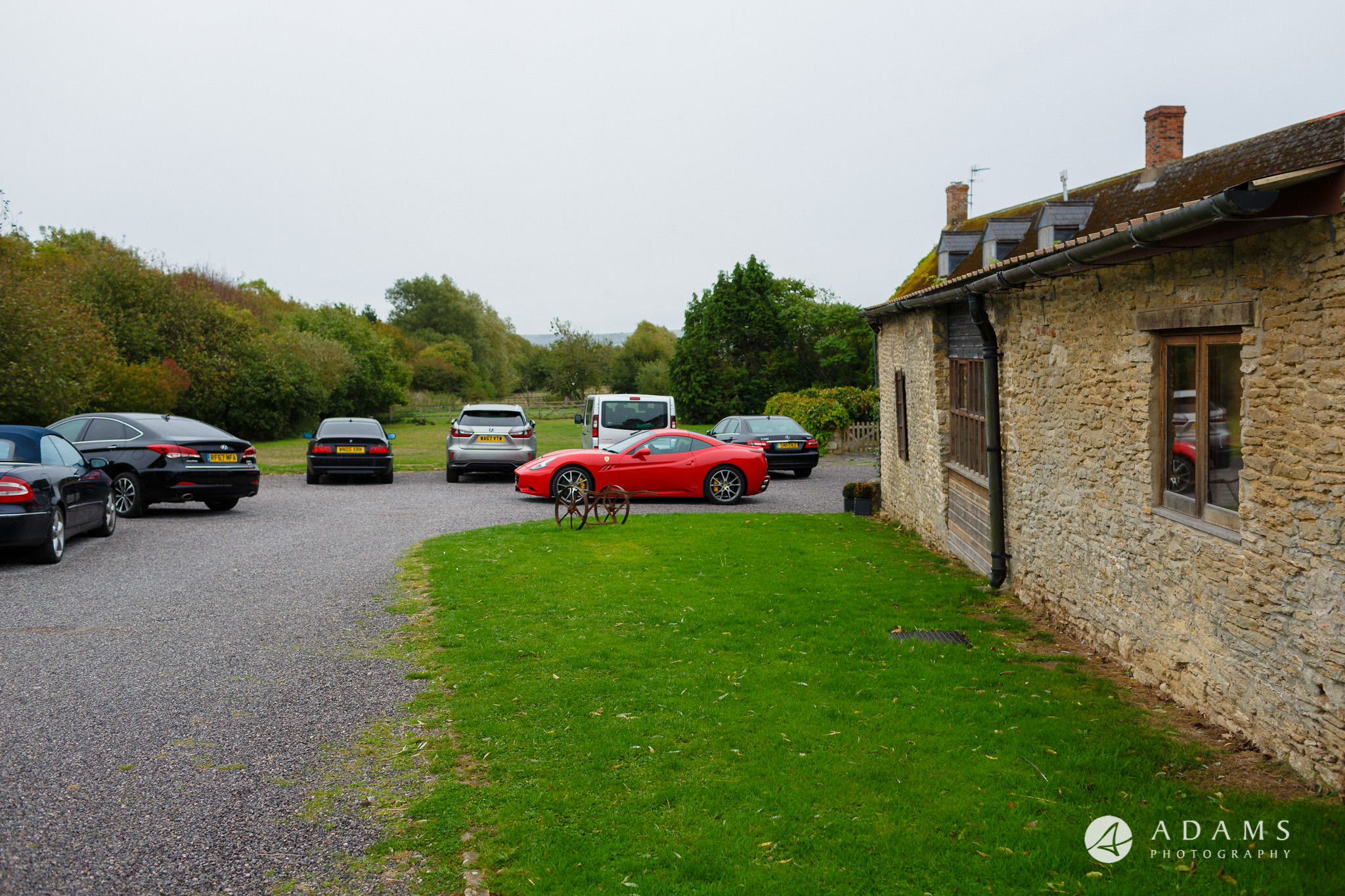 walled garden orchardleigh wedding view of the car