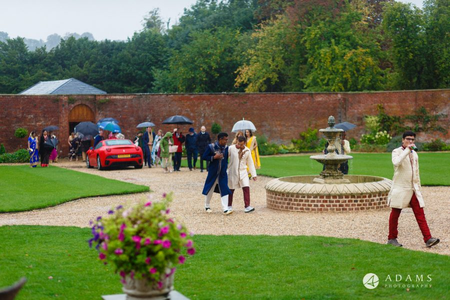 walled garden orchardleigh wedding guests walking to the venue