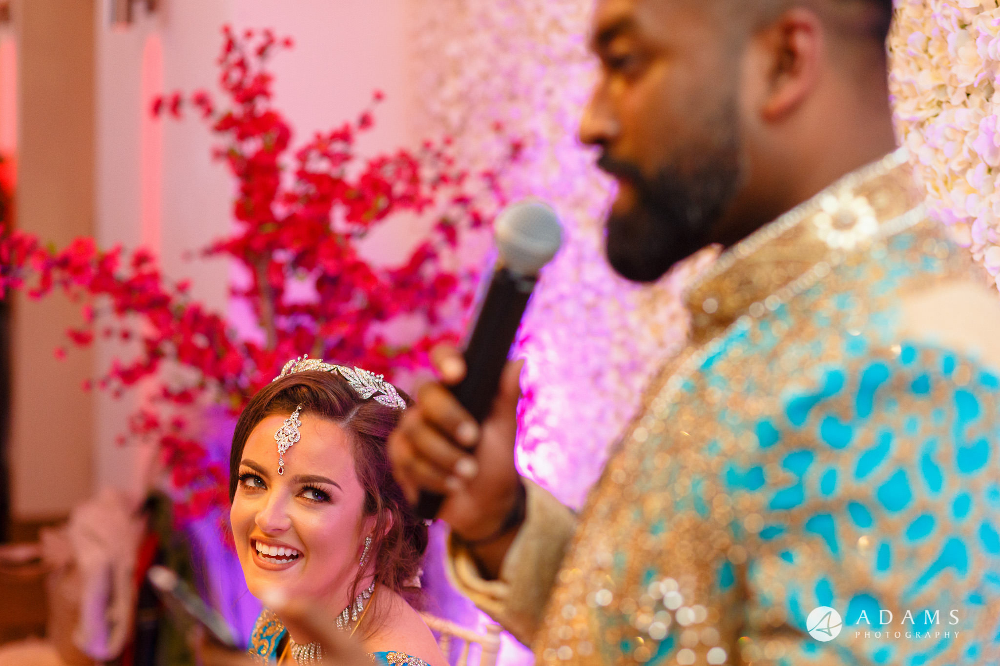 walled garden orchardleigh wedding bride look at groom during his speech