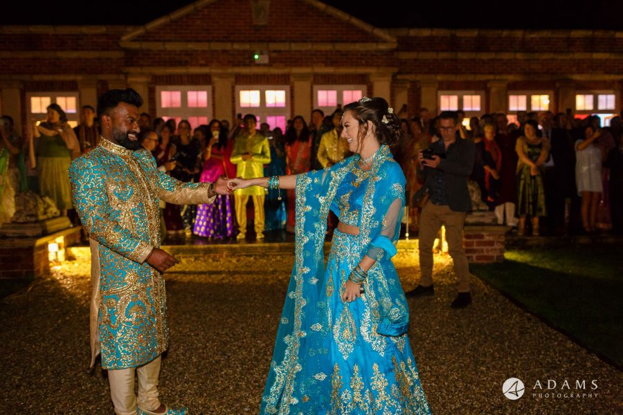 walled garden orchardleigh wedding brideandgroom first dance outside the venue