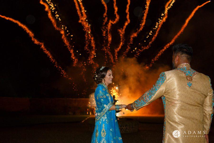 walled garden orchardleigh wedding fireworks