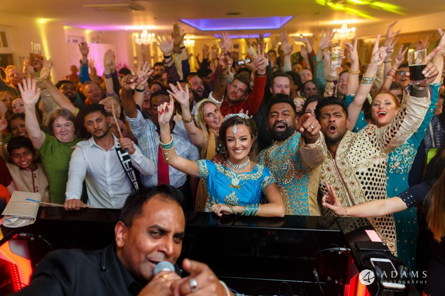 walled garden orchardleigh wedding photography group photo of everyone and the dj