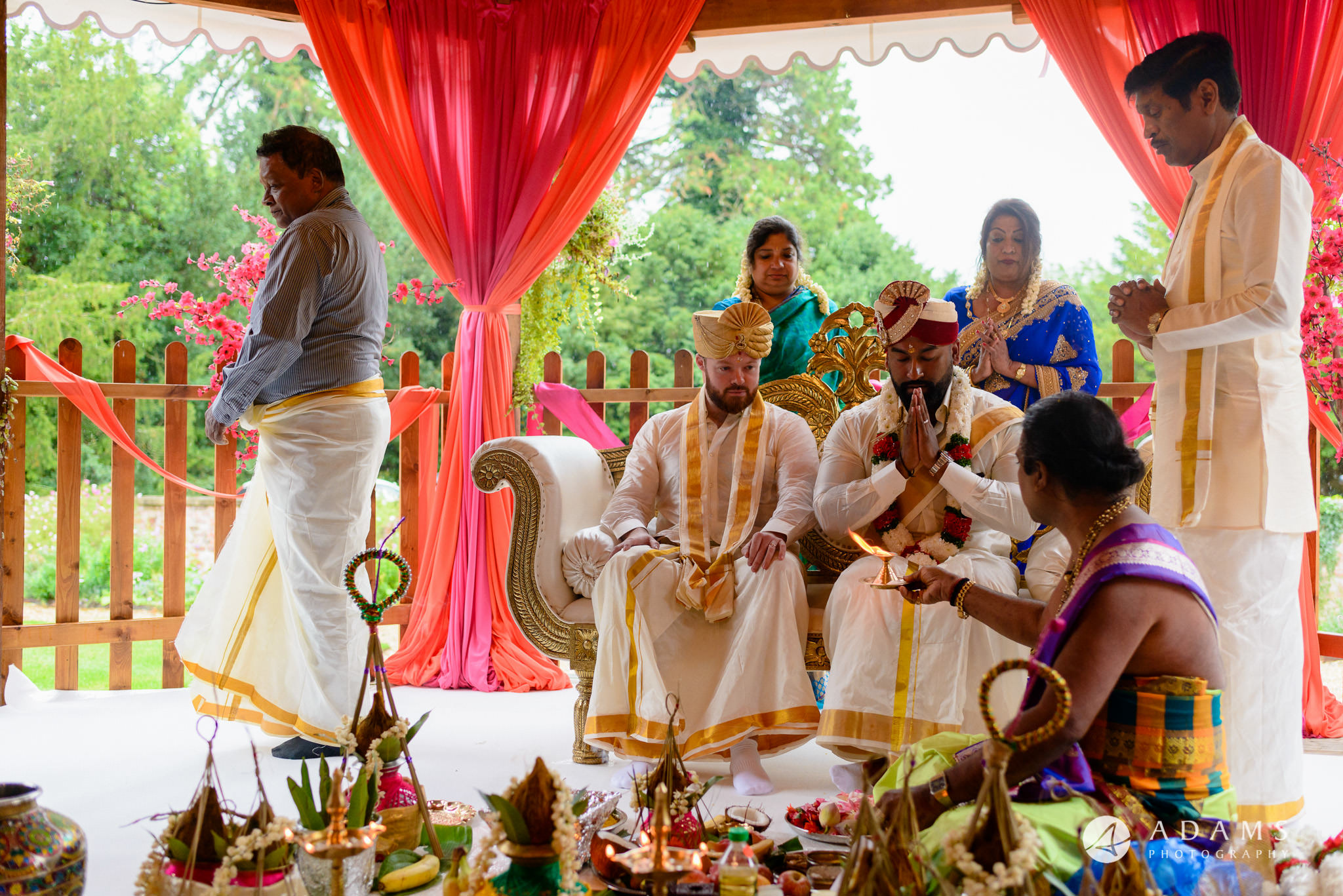 walled garden orchardleigh wedding ceremony puja with groom