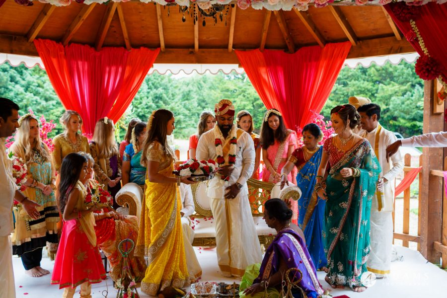 walled garden orchardleigh wedding bride is going to change into her new sari
