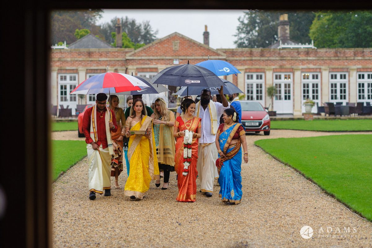 walled garden orchardleigh wedding bride arrives in new sari