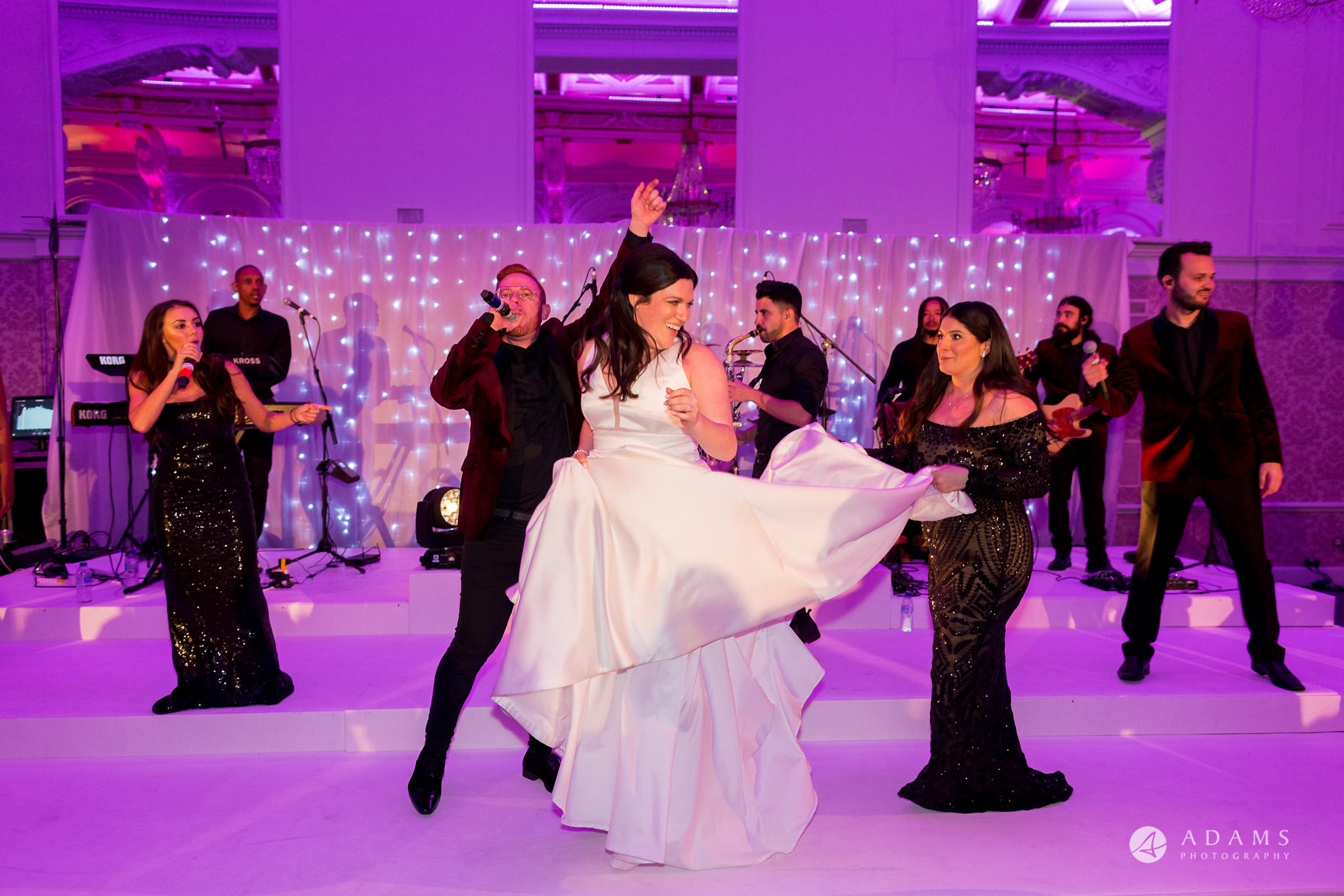 Grand connaught rooms wedding bride on the stage