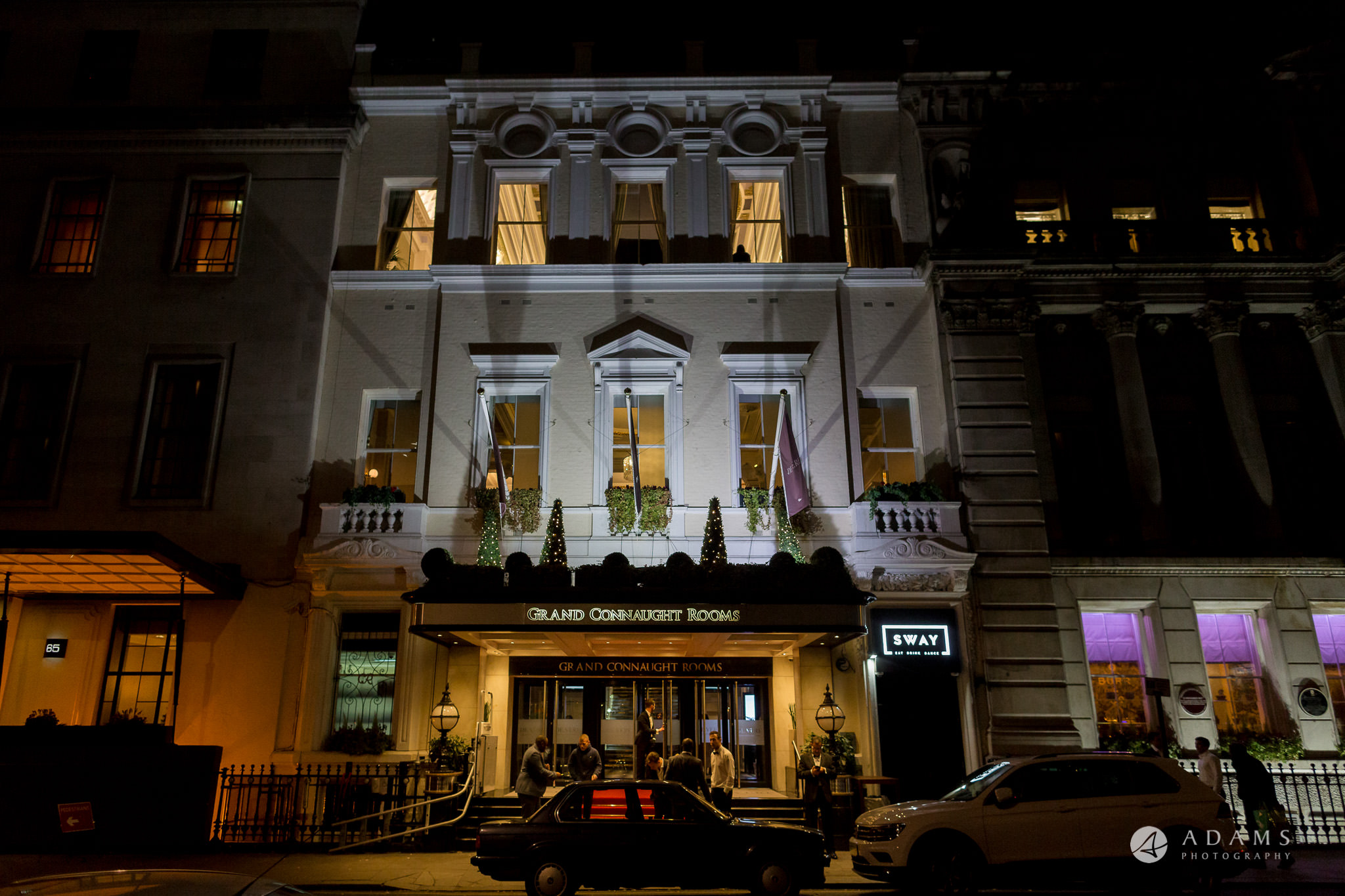 Grand connaught rooms wedding venue view from outside in the evening