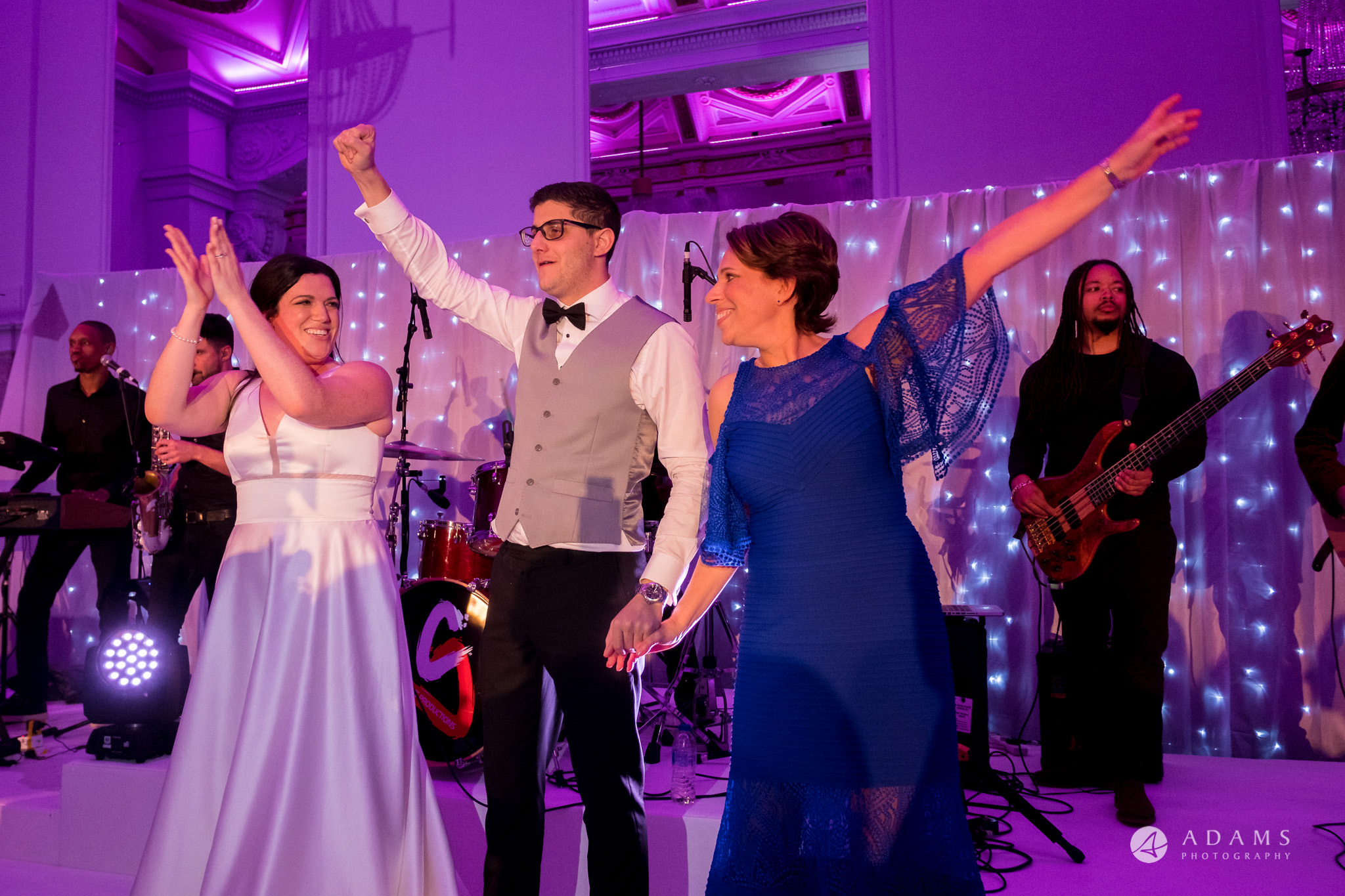 Grand connaught rooms wedding bride and groom on the stage