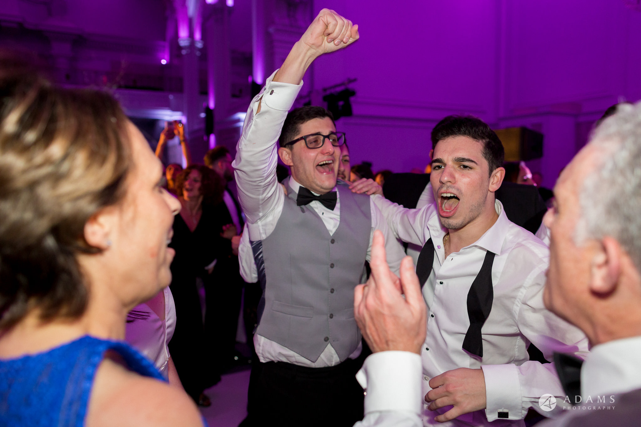 Grand connaught rooms wedding groom hand in the air