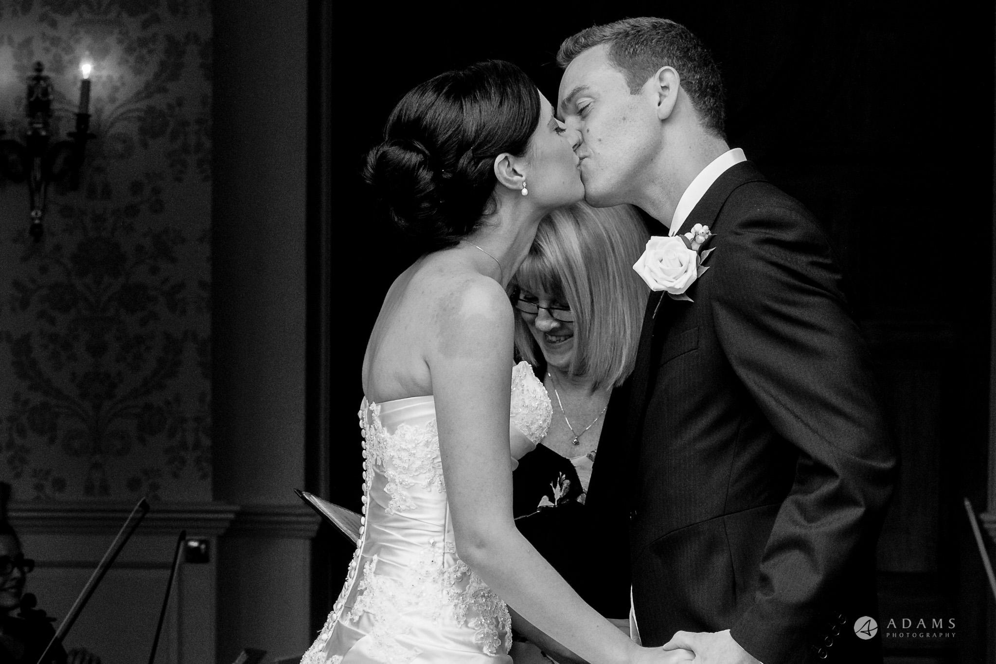 Kingston Bagpuize House wedding first kiss