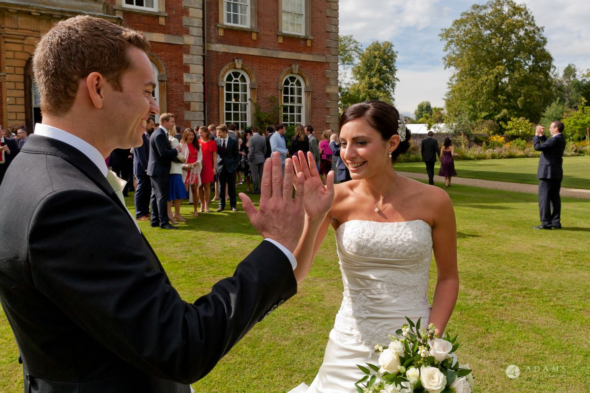 Kingston Bagpuize House wedding high five