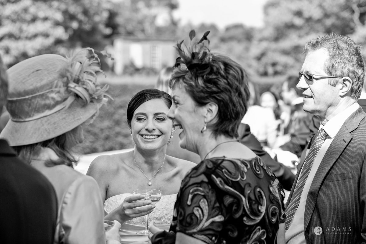 Kingston Bagpuize House wedding bride mingling
