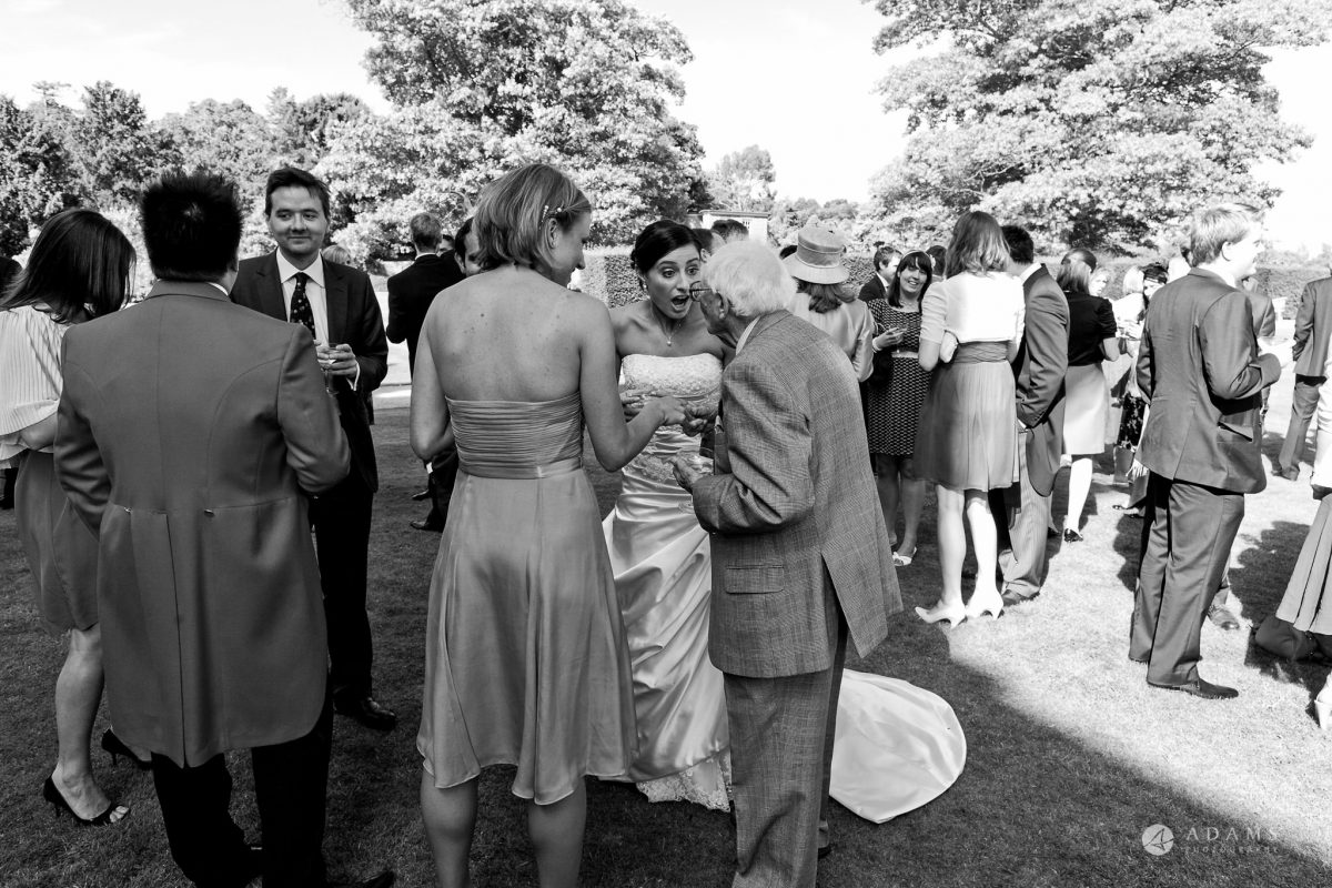 Kingston Bagpuize House wedding bride mingling with her grandad