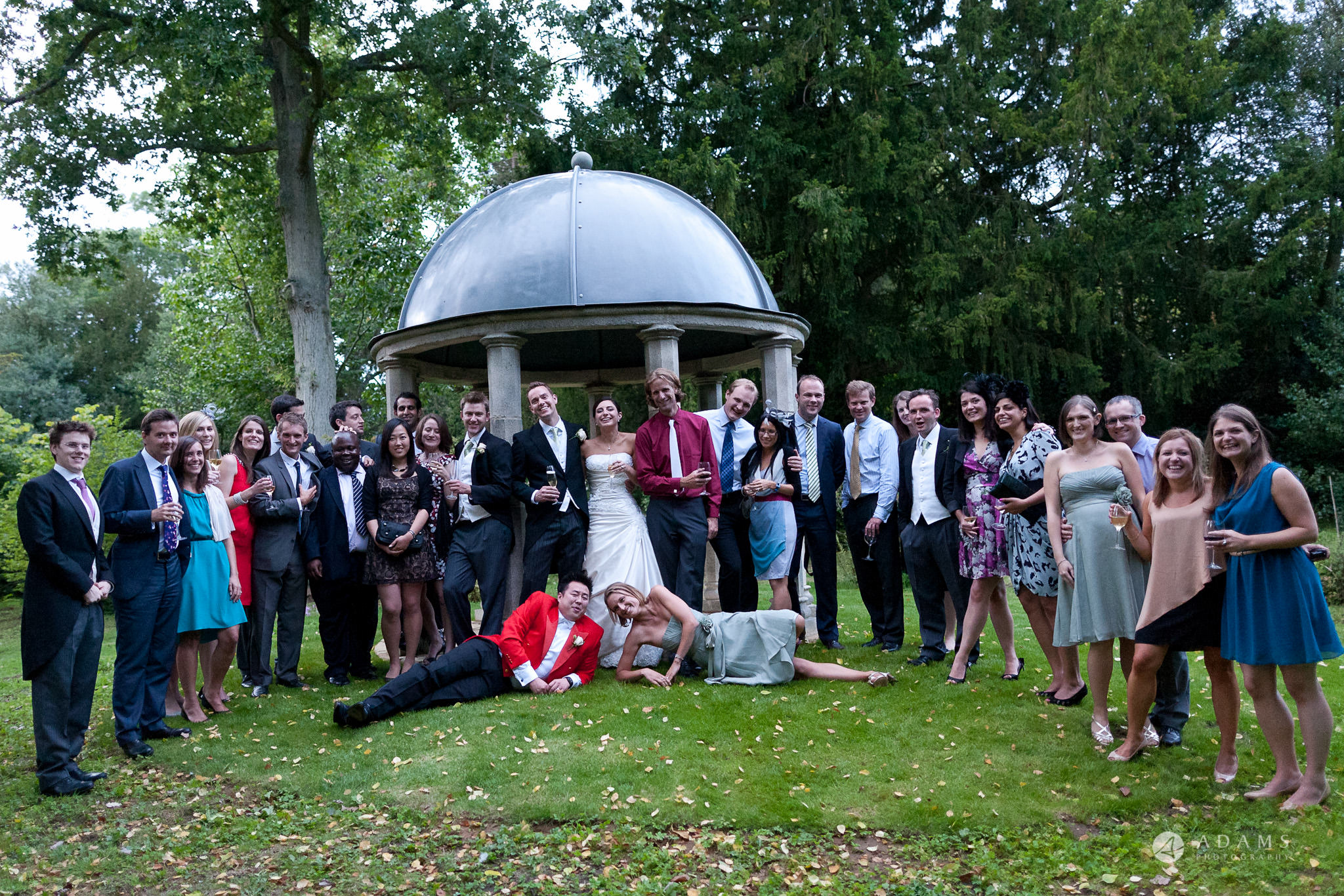 Kingston Bagpuize House wedding group photo