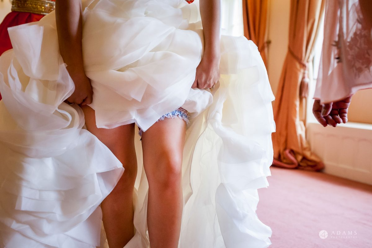 St Audries Park wedding garter on the leg