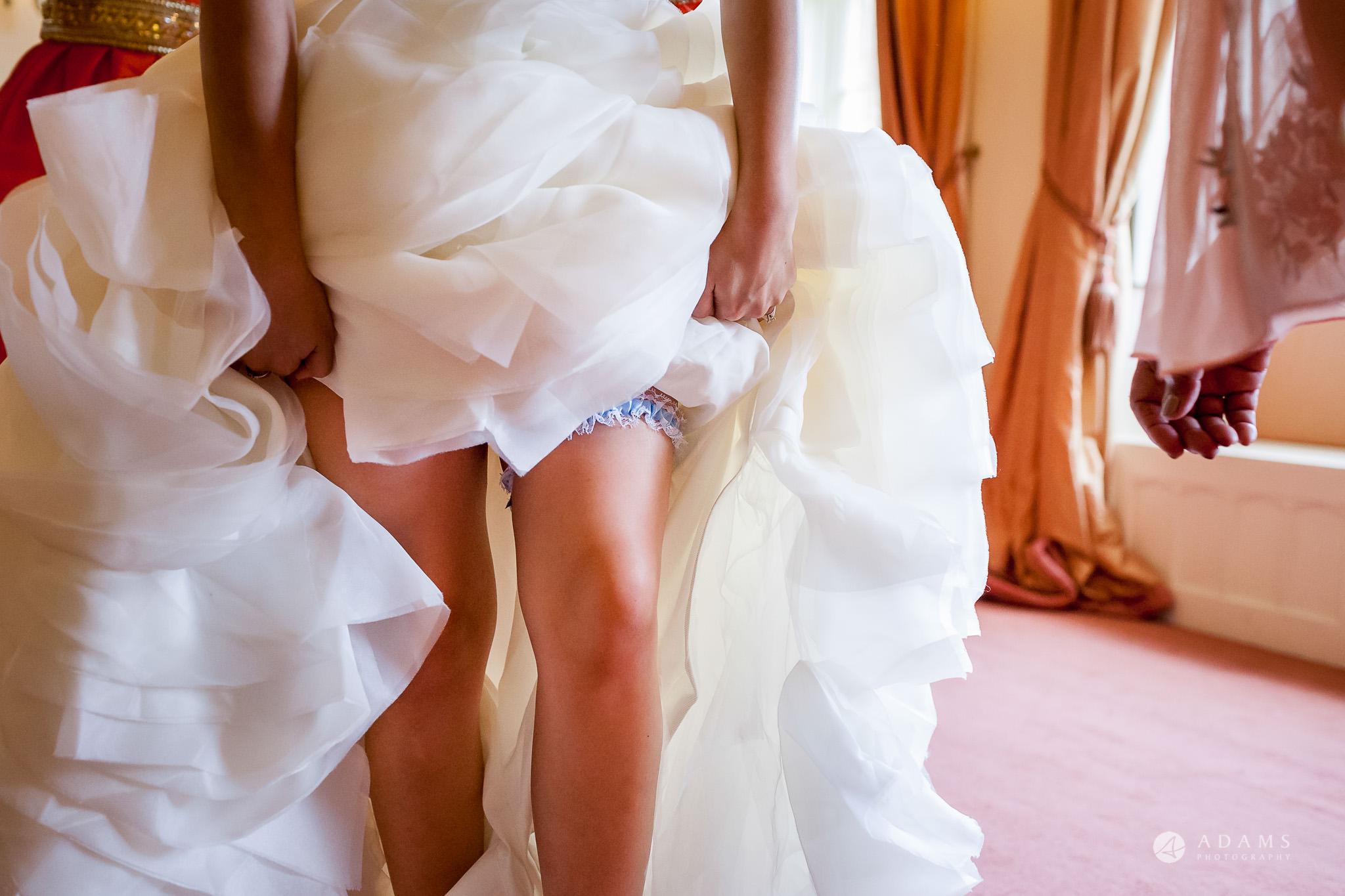 St Audries Park wedding garter on the leg