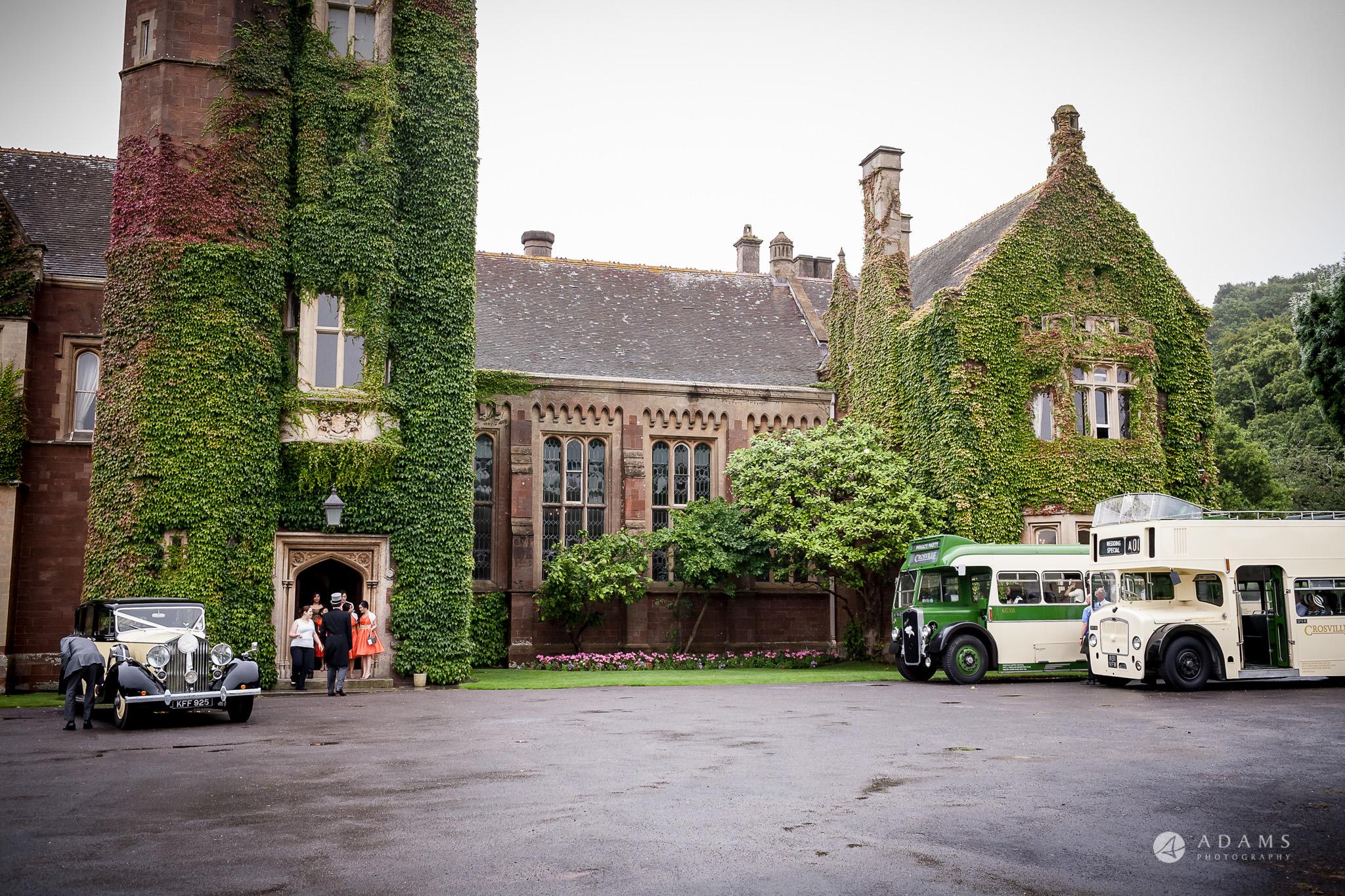 St Audries Park wedding venue busses waiting outside
