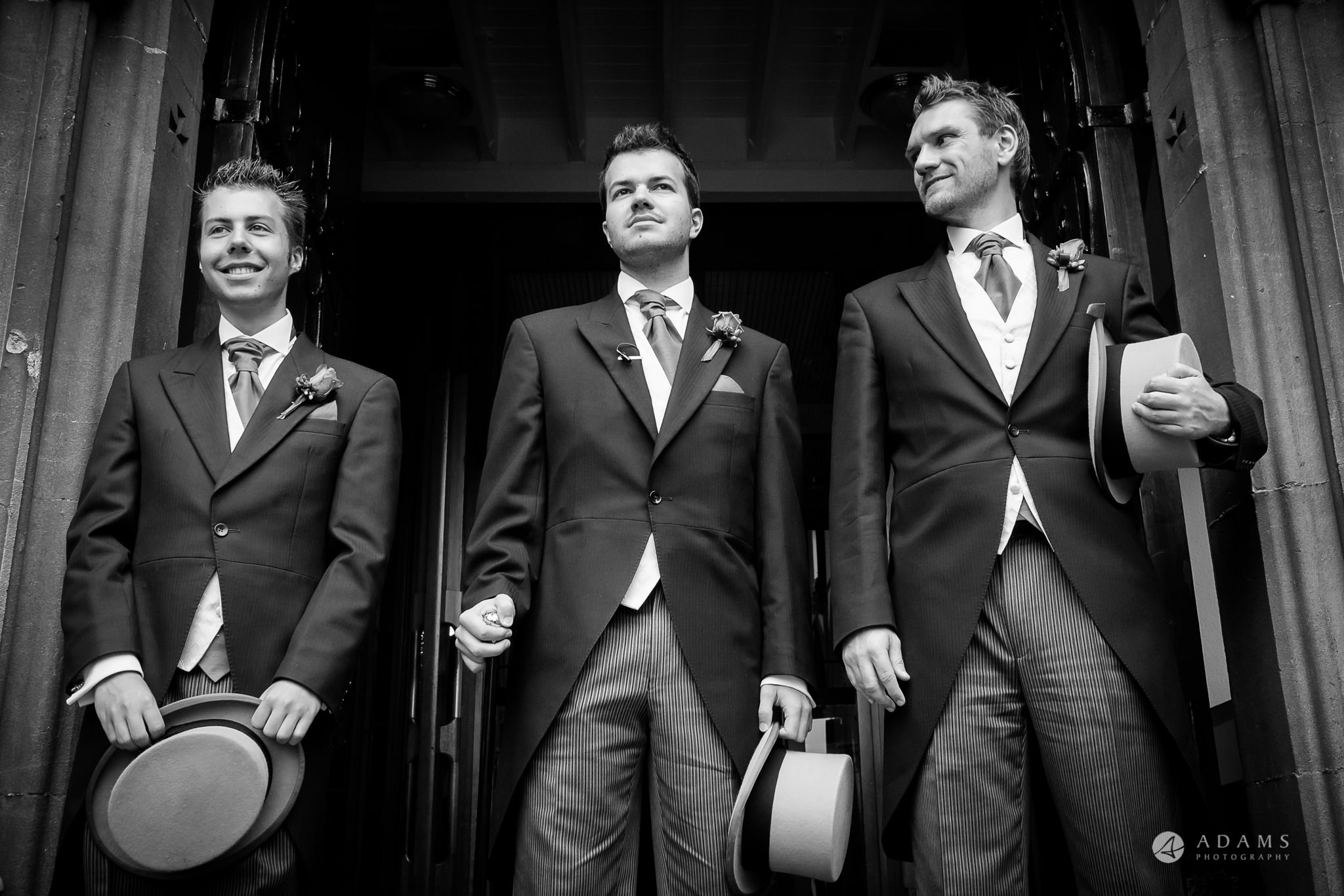 St Audries Park wedding groom and his groomsmen waiting for the guests
