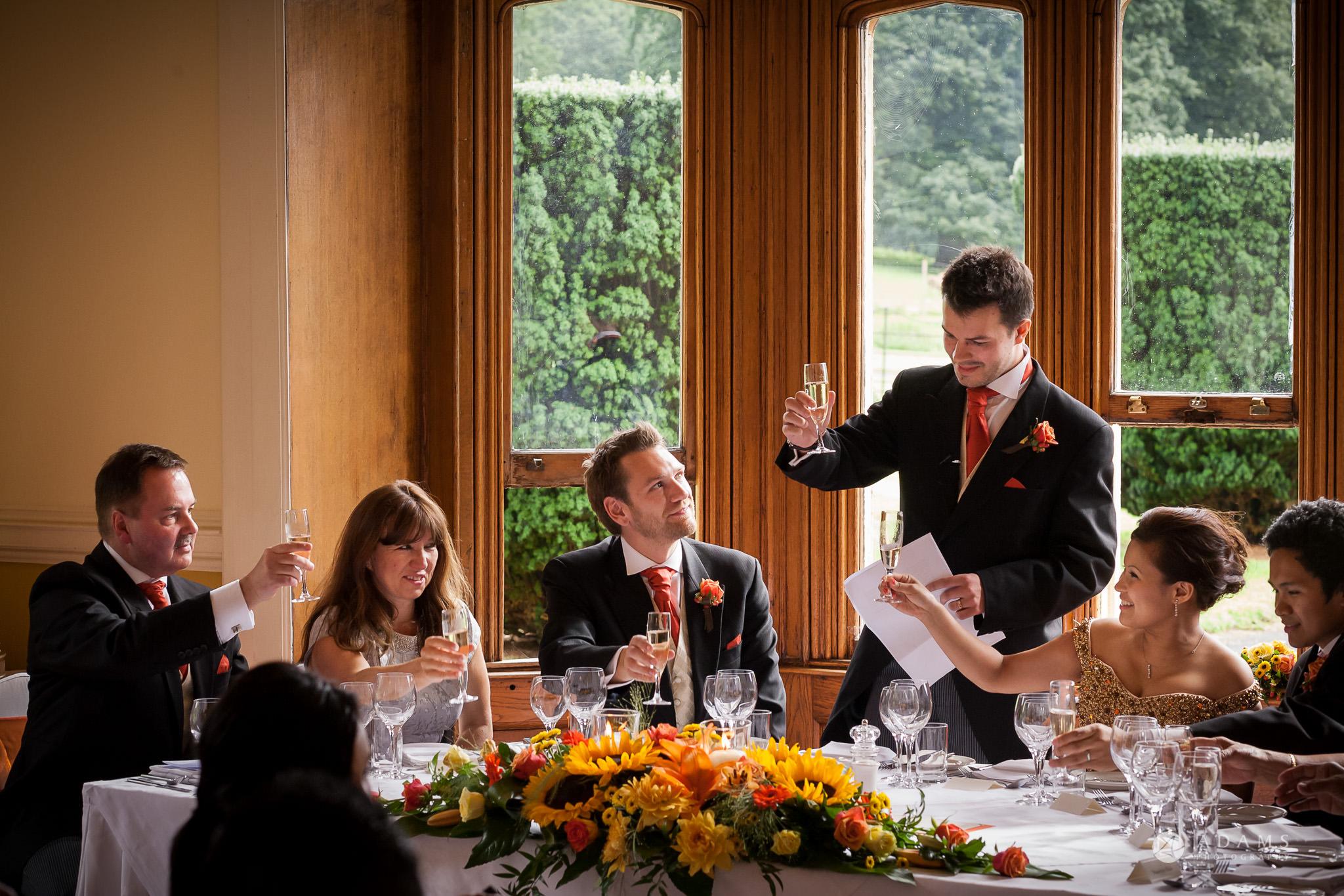 St Audries Park wedding grooms toast