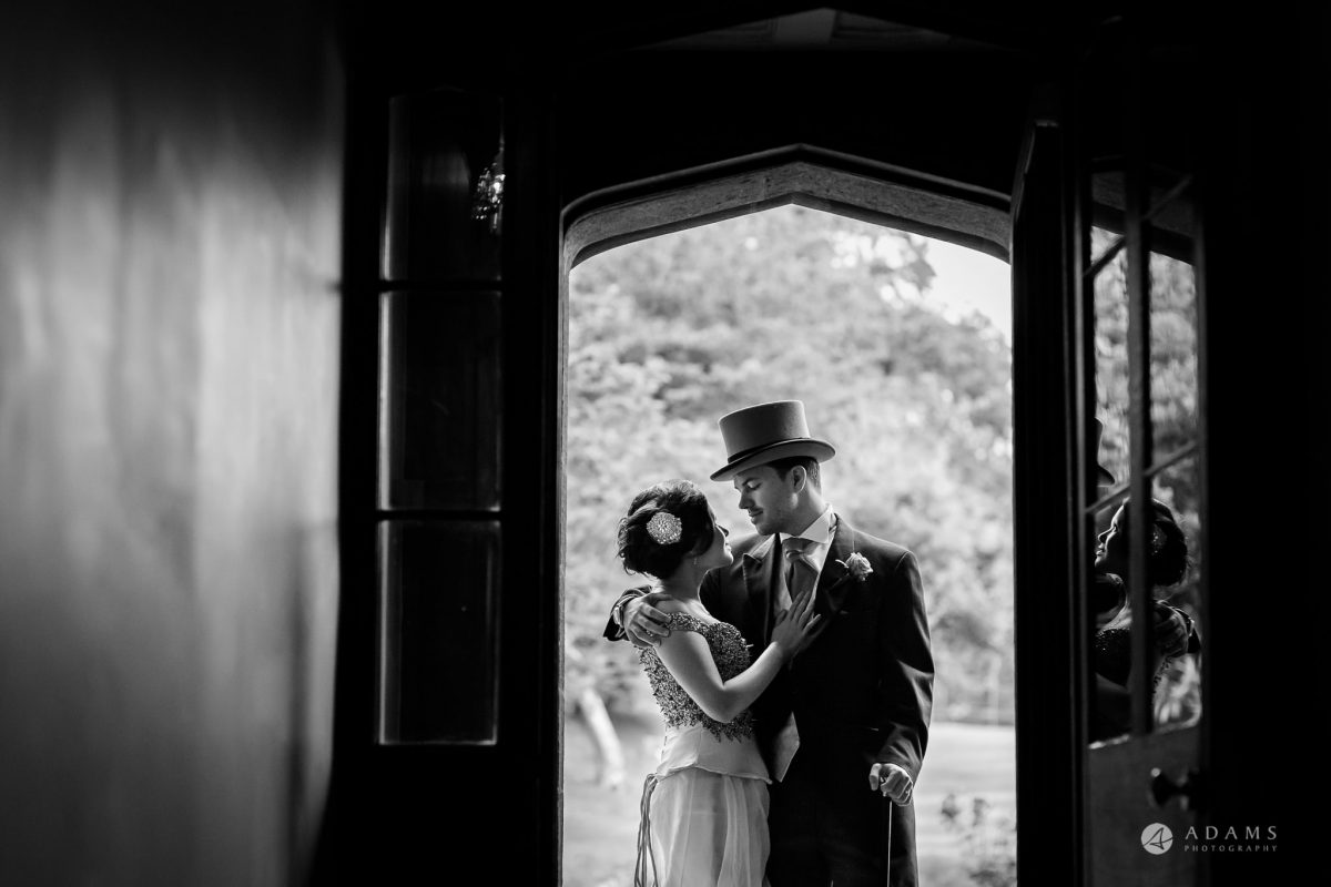 St Audries Park wedding couple portrait in the doorway