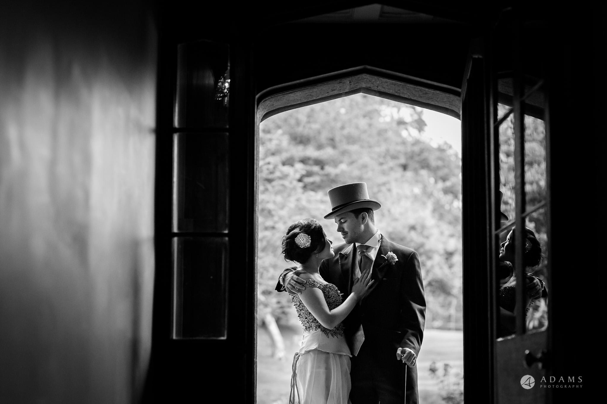 St Audries Park wedding couple portrait in the doorway