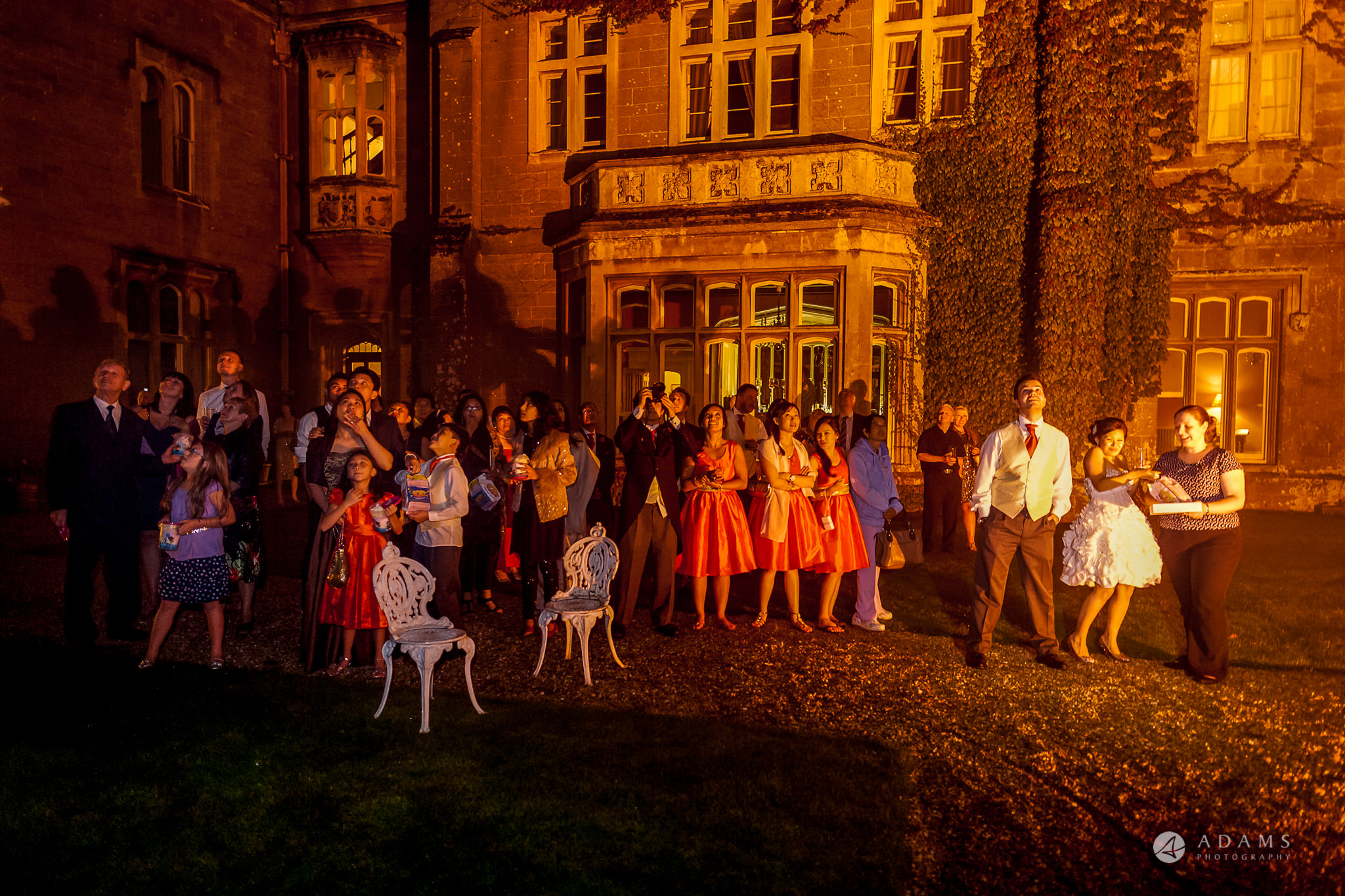 St Audries Park wedding guests reaction to the fireworks