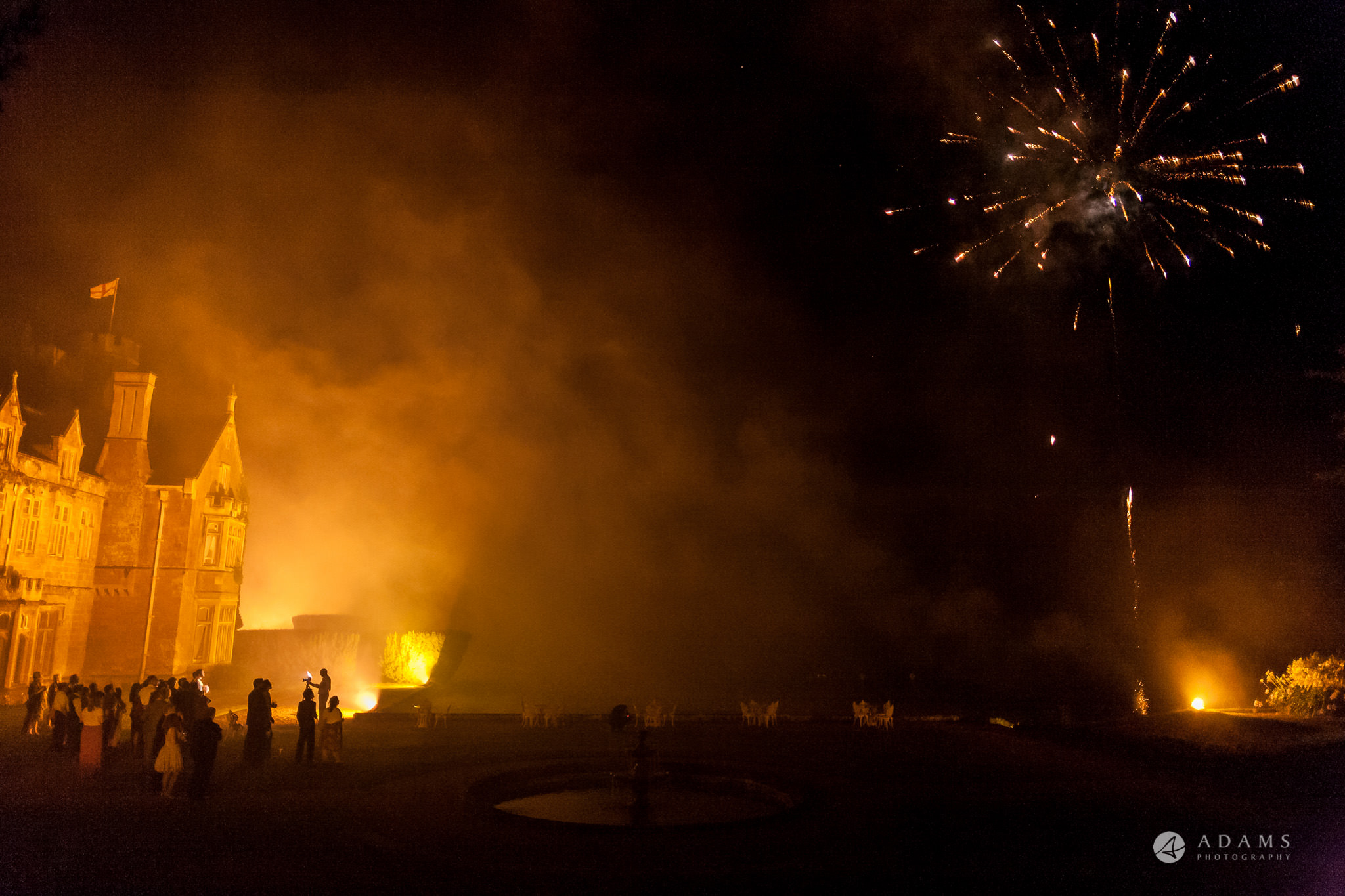 St Audries Park wedding venue in the light of fireworks