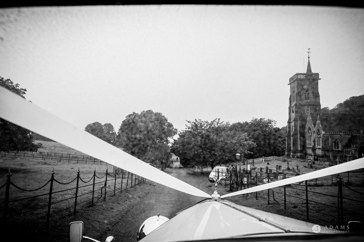St Audries Park wedding view from the wedding car on the fields and road tot eh venue