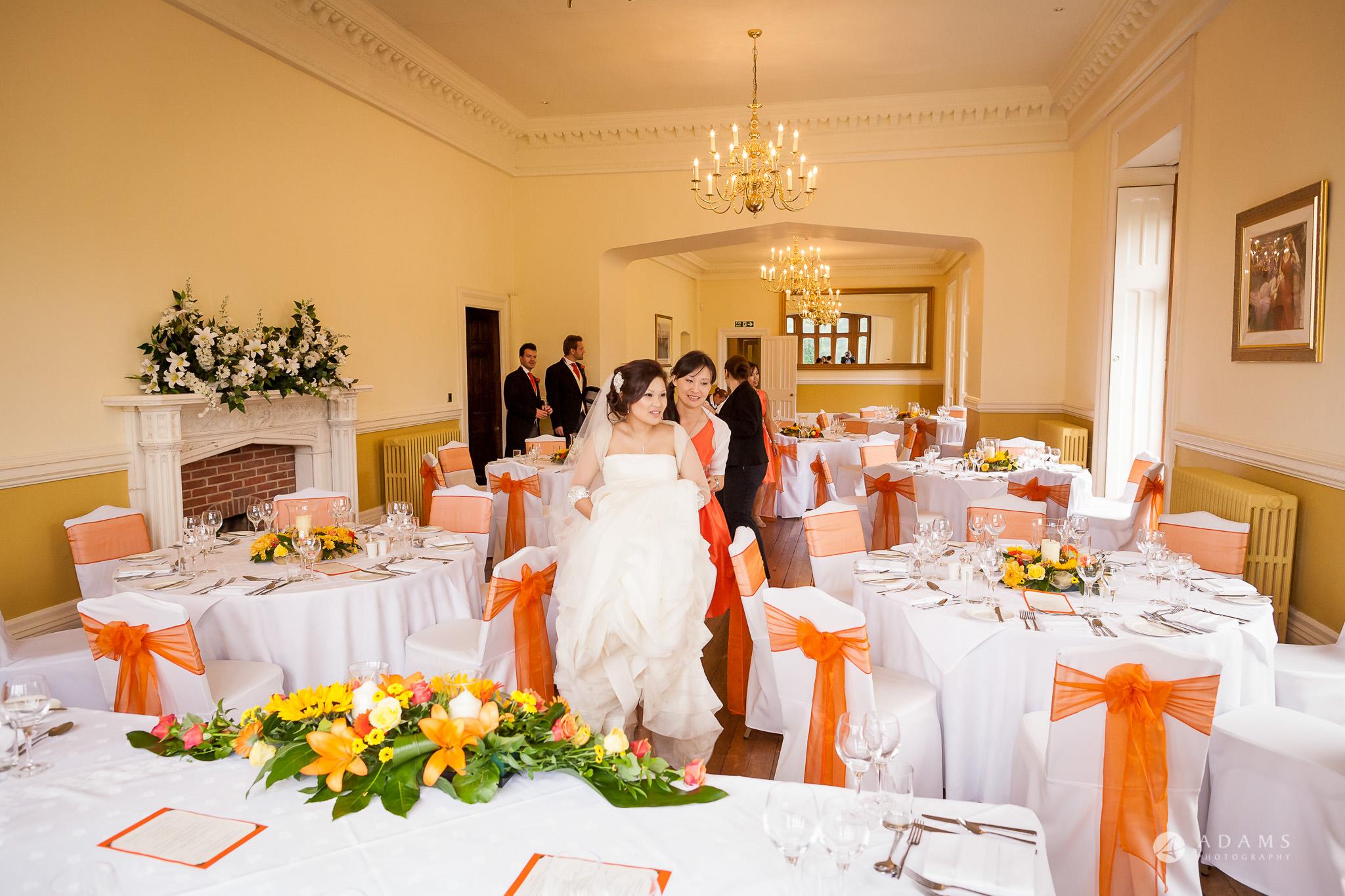 St Audries Park wedding bride checks the breakfast room