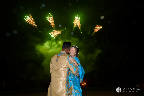 Somerset wedding photographer fireworks couple shot