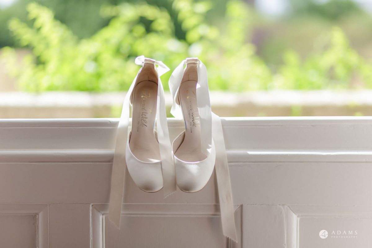 Trinity College Cambridge wedding bride shoes