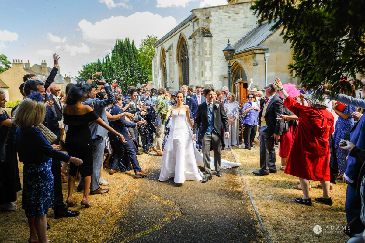 Trinity College Cambridge wedding confetti throw