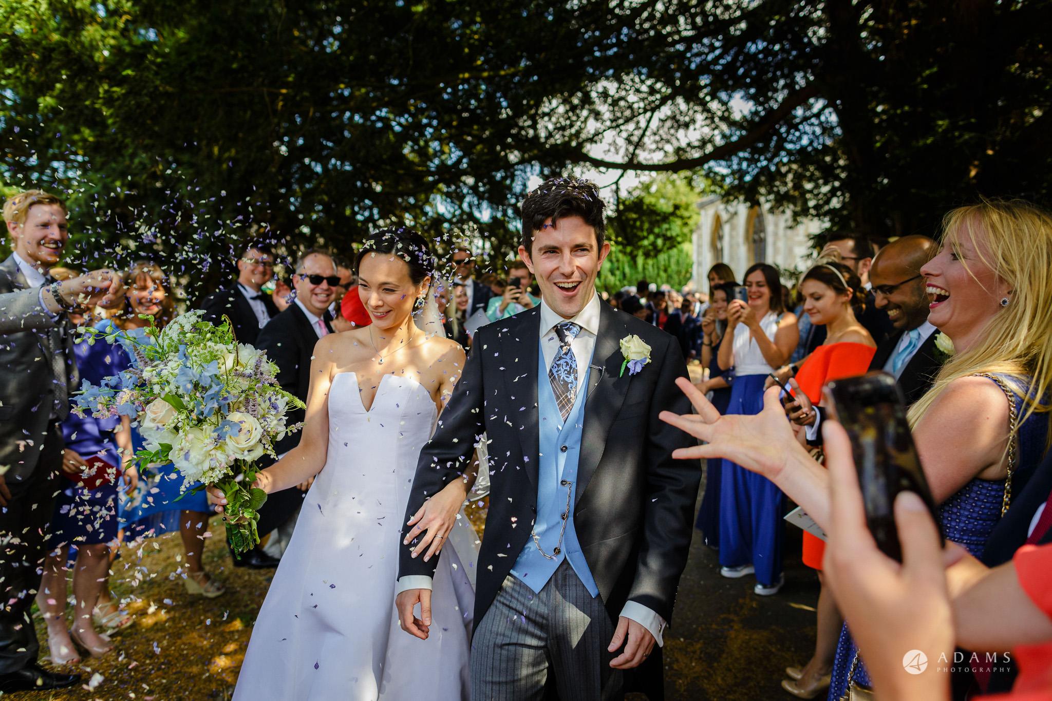 Trinity College Cambridge wedding confetti shower