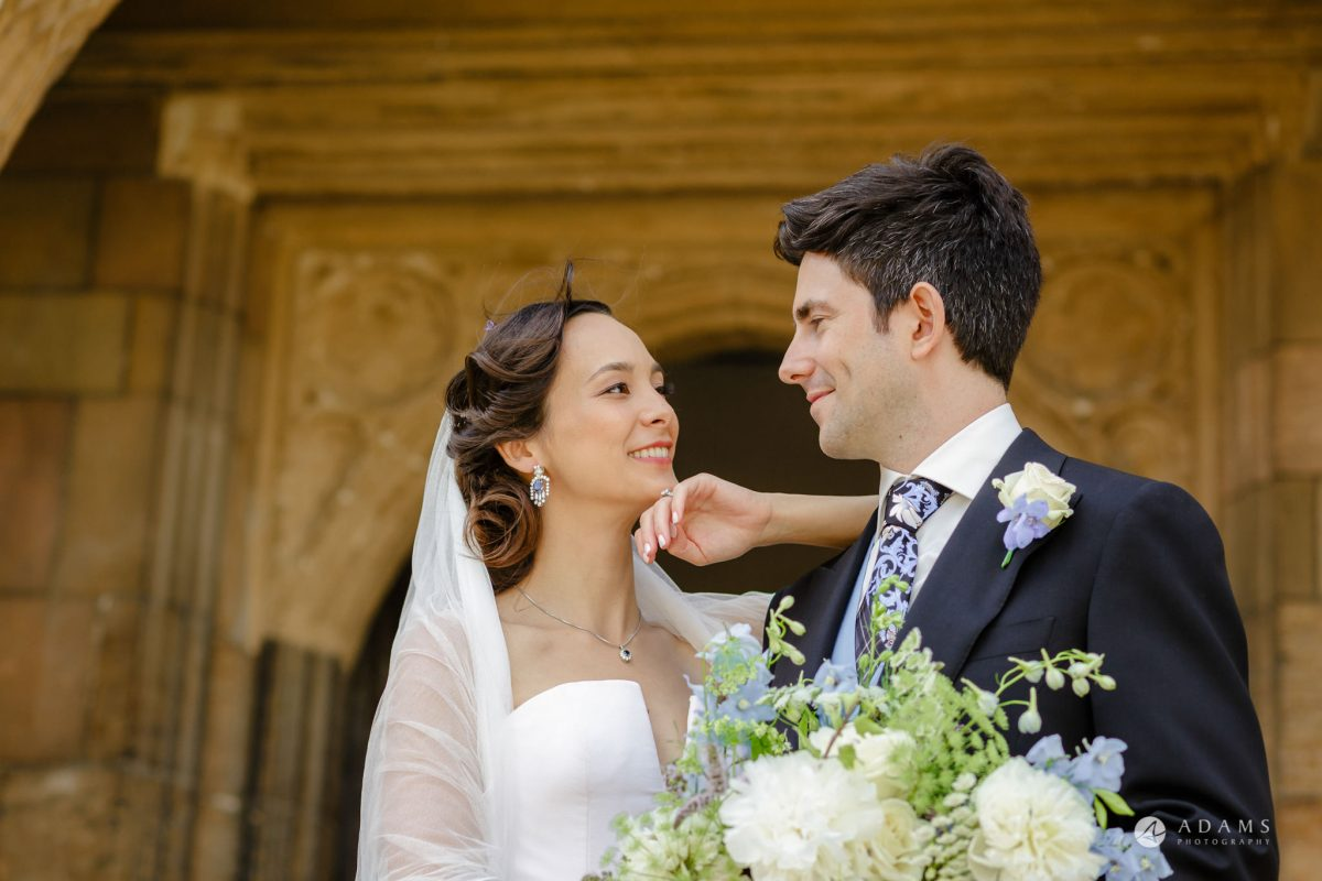 Trinity College Cambridge wedding couple portrait