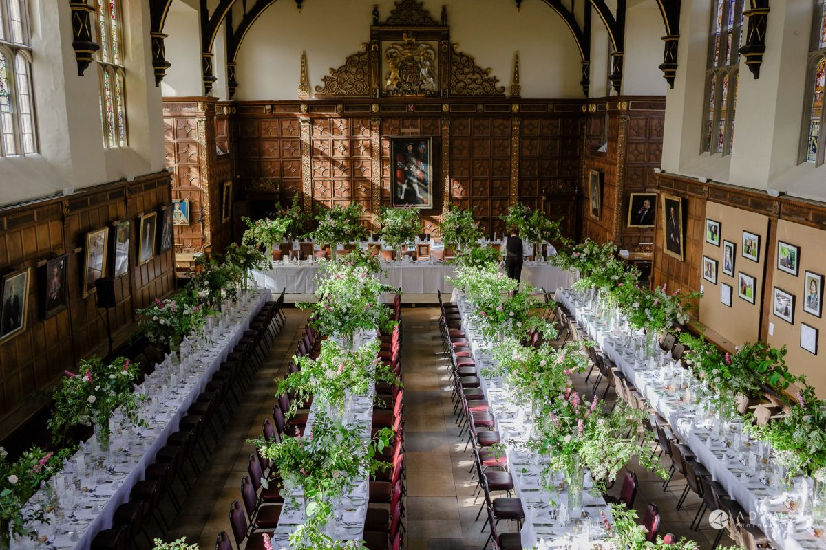 Trinity College Cambridge wedding breakfast room