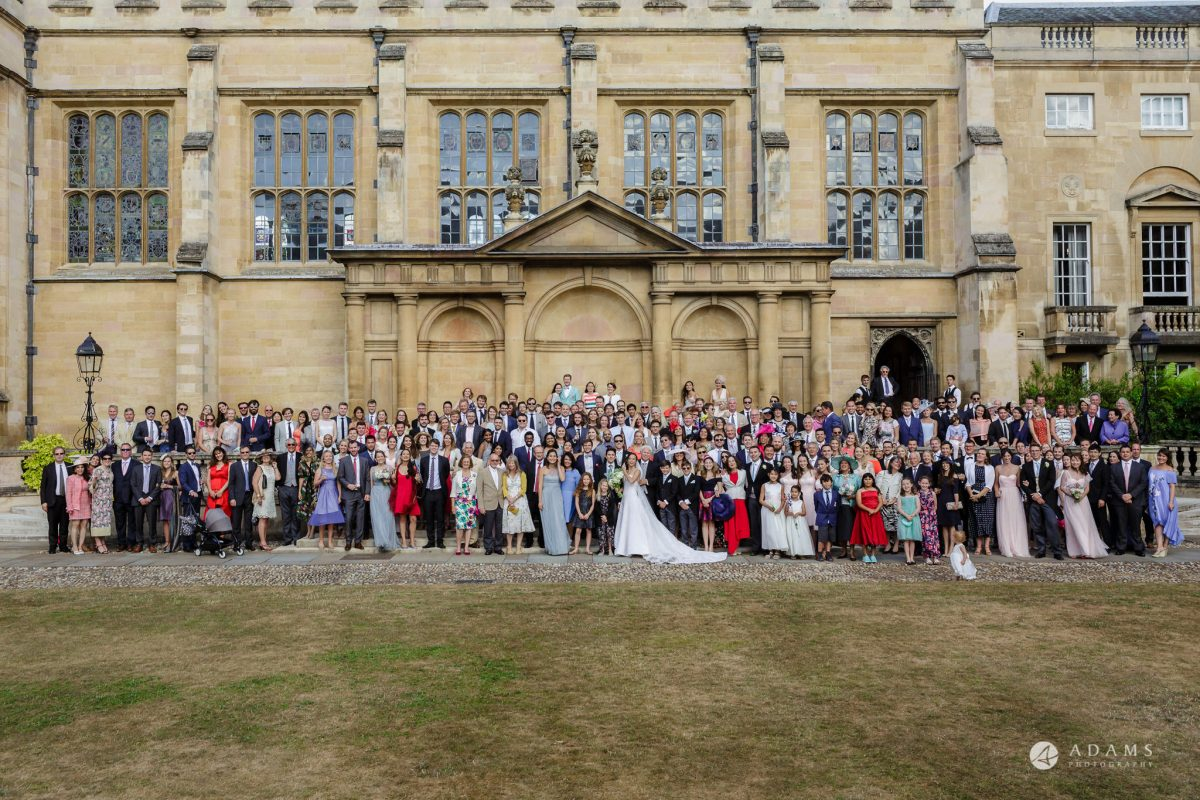 Trinity College Cambridge wedding group photo