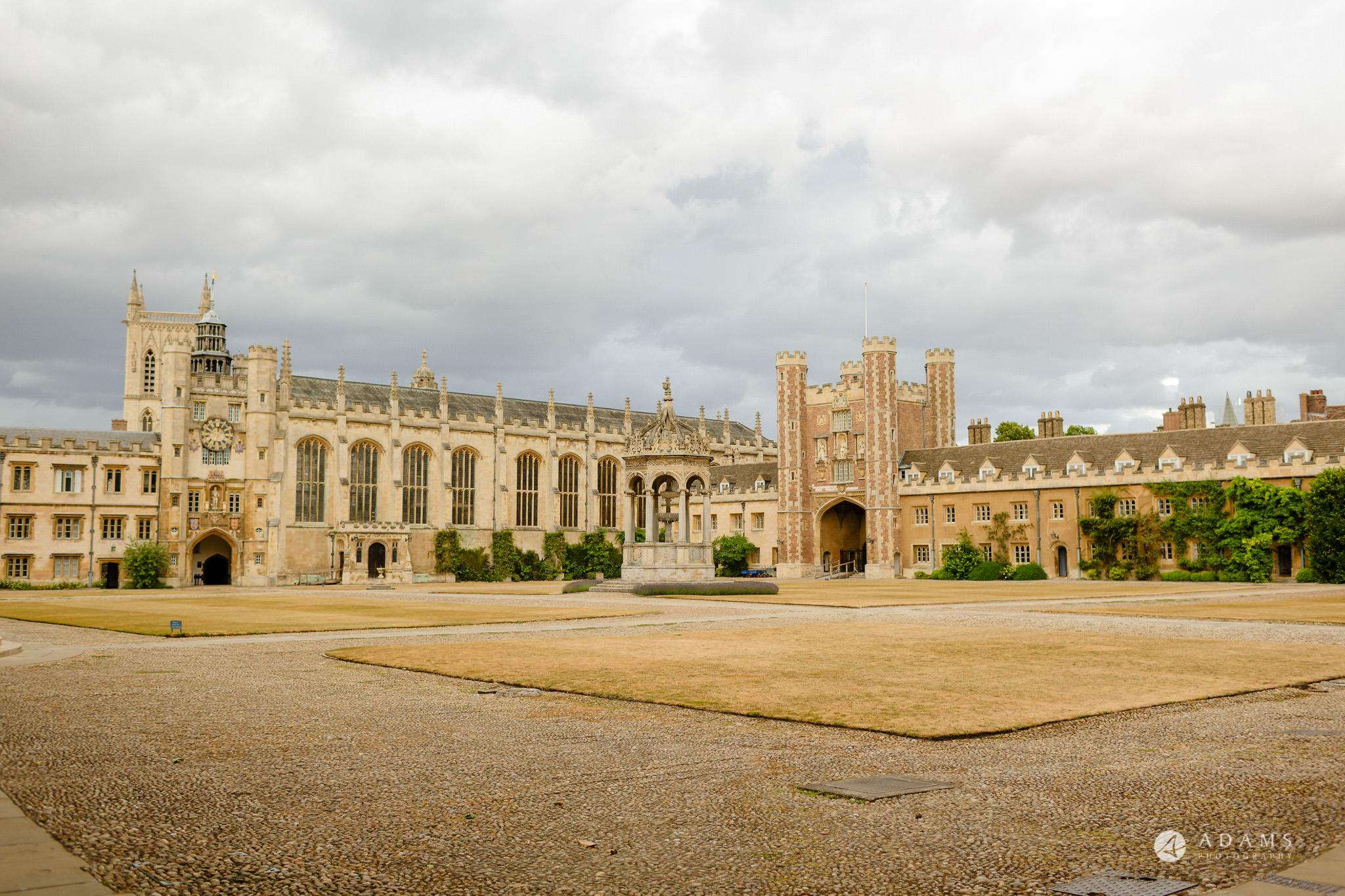 Trinity College Cambridge wedding view of the university courtyard