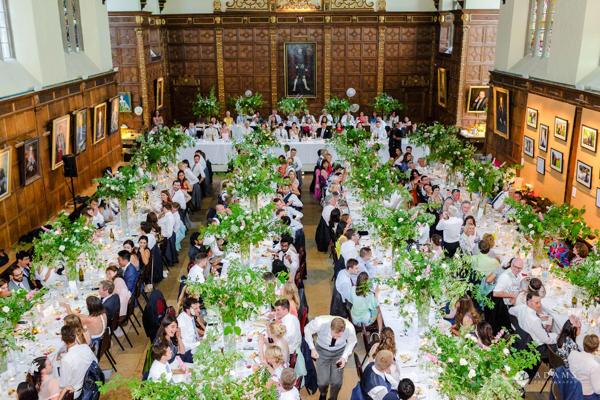 Trinity College Cambridge wedding breakfast