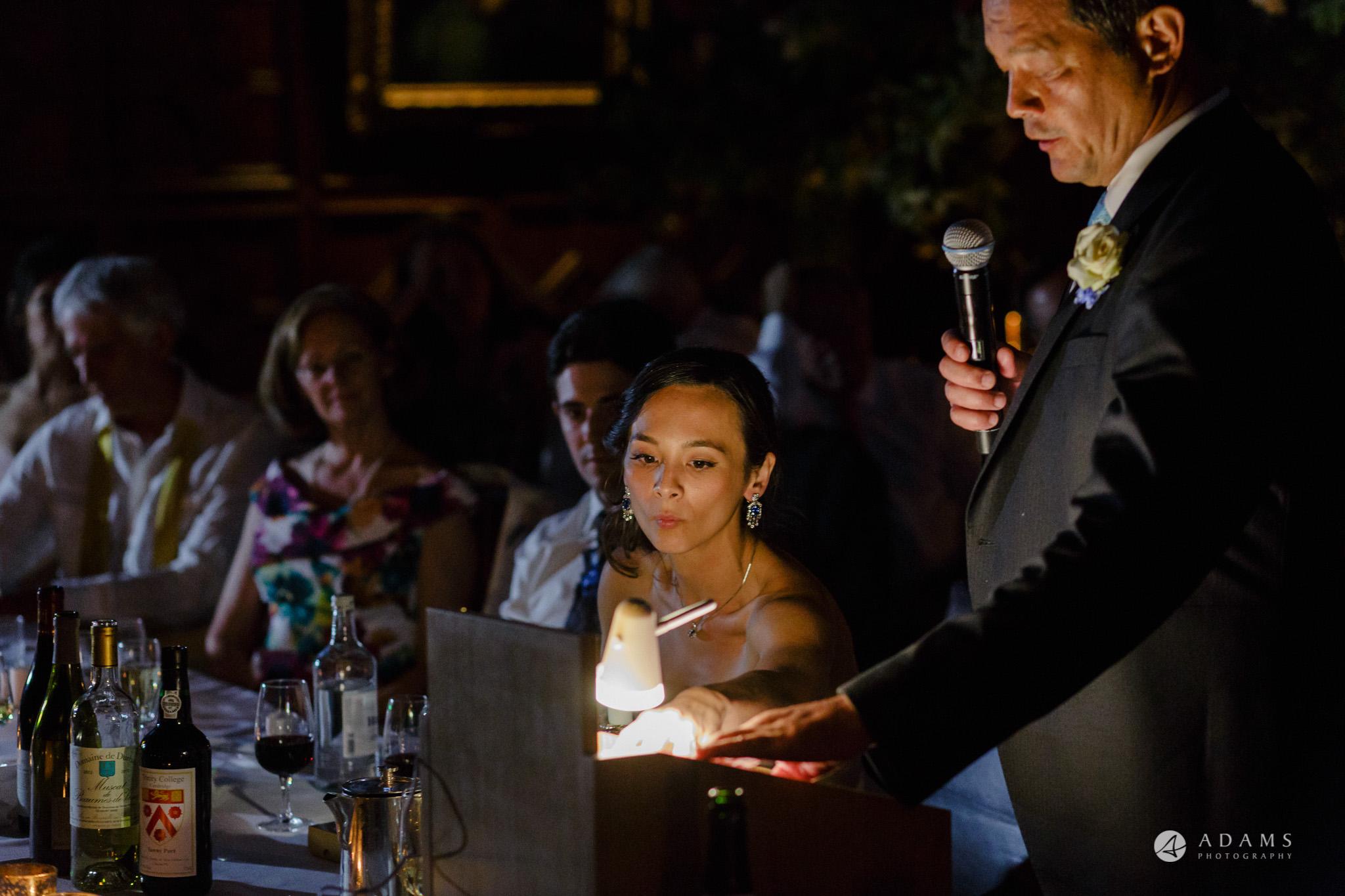 Trinity College Cambridge wedding father of the bride speech close up