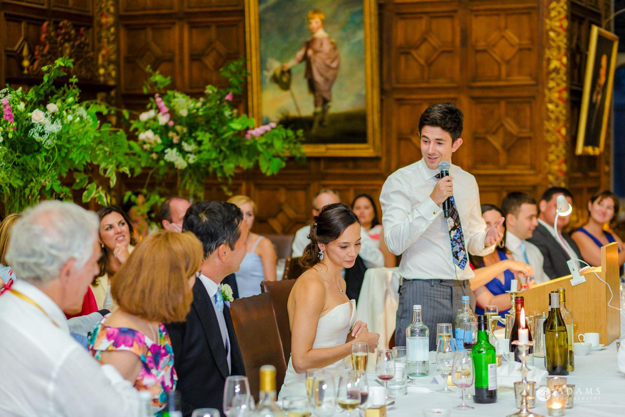 Trinity College Cambridge wedding groom speech