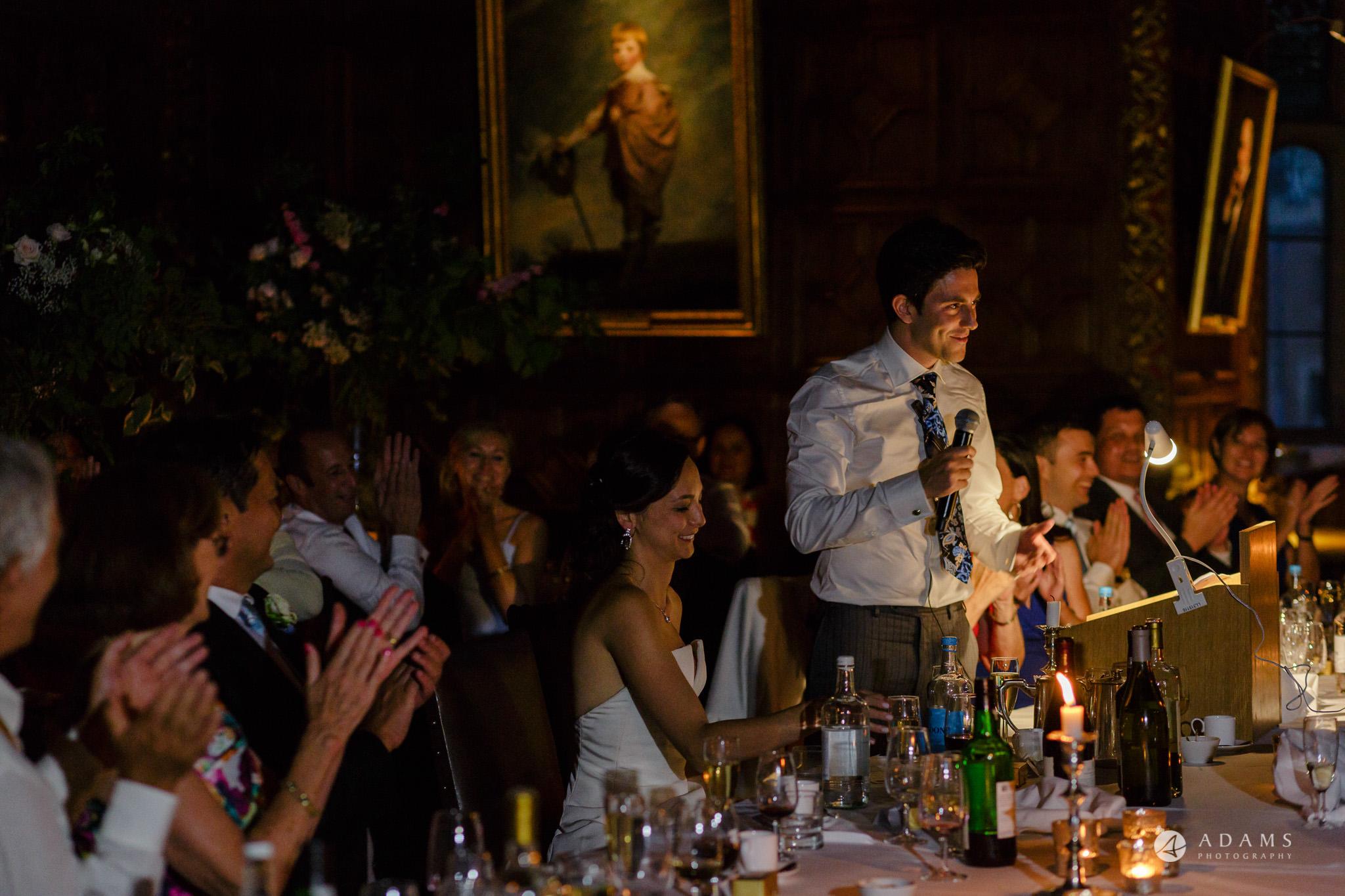 Trinity College Cambridge wedding groom speech dark