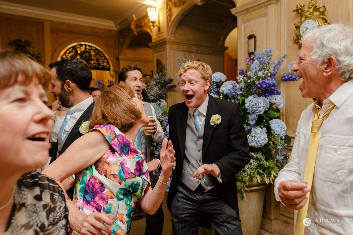 Trinity College Cambridge wedding guests dance