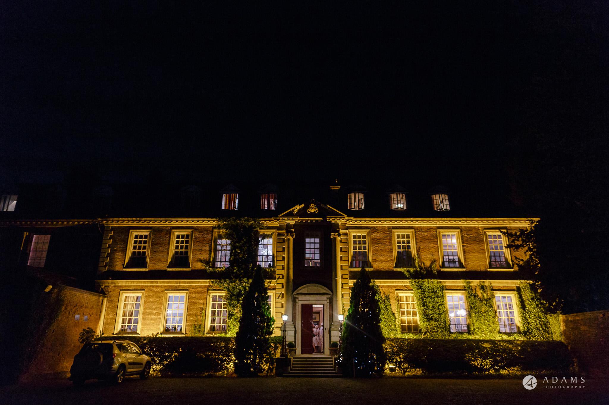 Trinity College Cambridge wedding venue view at night