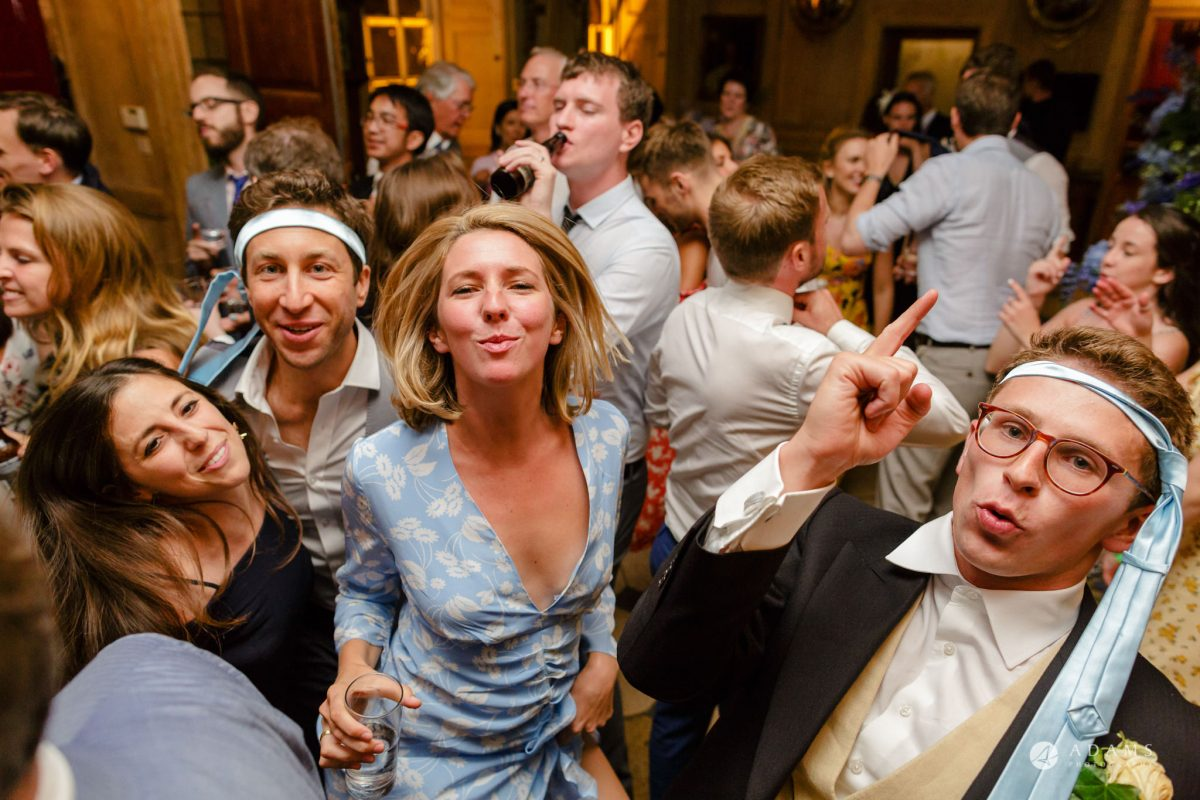 Trinity College Cambridge wedding party dancing
